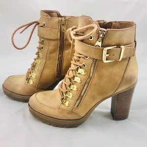 G by Guess High Heel Tan Combat Boots Size 8M